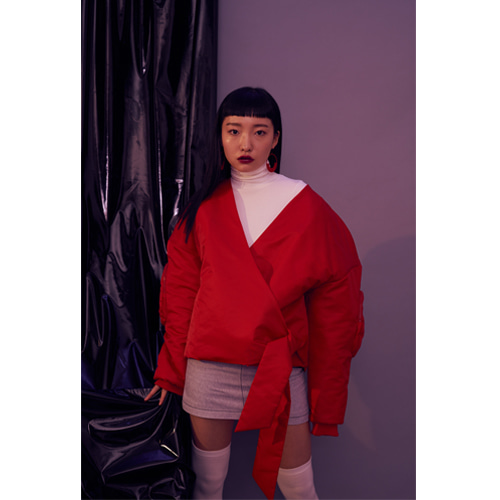 [OTHER-worldly] RED wrap jumper